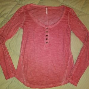 Free People Pink Long Sleeve Lace & Ribbon Top